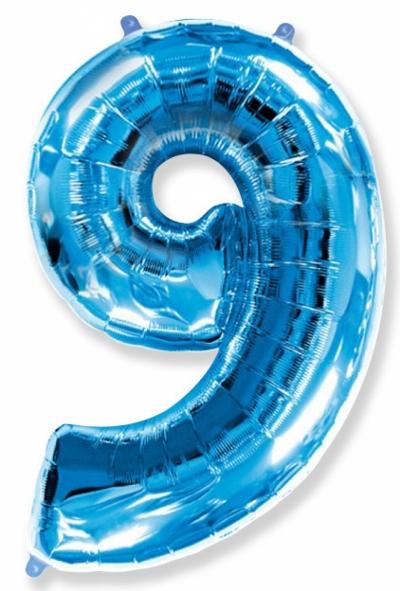Большая цифра 9 (синяя)