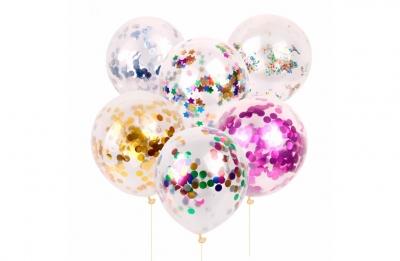 Гелиевые шары с разноцветным конфетти