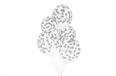 Гелиевые шары с серебряным конфетти