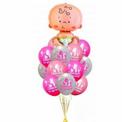 Фонтан из шаров на выписку для девочки