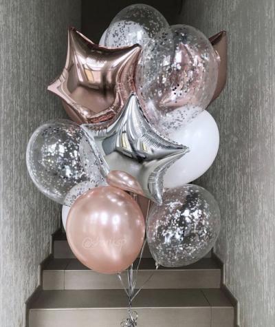 Набор: Розовое золото + серебро