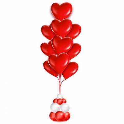 Фонтан из 10 сердец на подставке