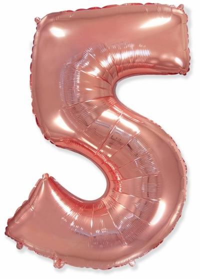 Большая цифра 5 (розовое золото)