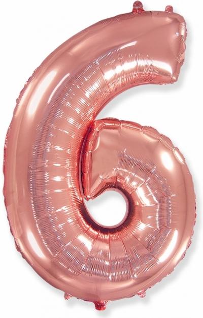 Большая цифра 6 (розовое золото)