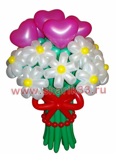 Букет из шаров (11 ромашек и 5 сердечек)