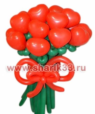 Цветы из шаров: 13 сердец
