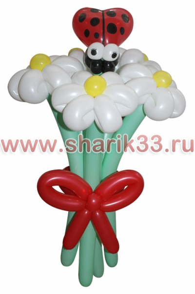 Букетик (5 цветков + божья коровка)
