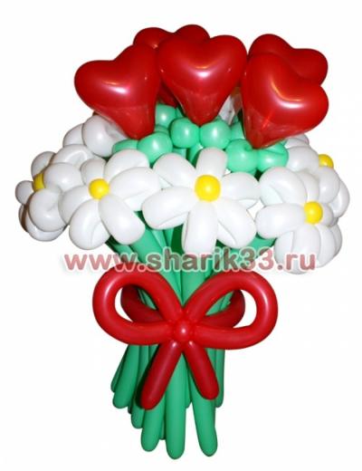Цветы из шаров: Ромашки + сердечки