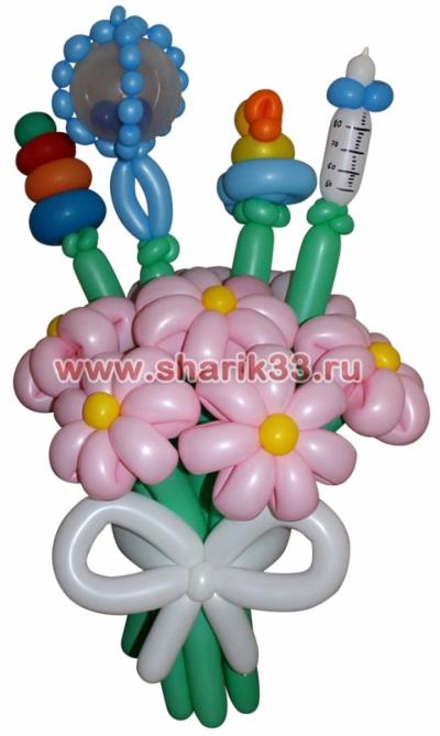 Цветы из шаров на выписку