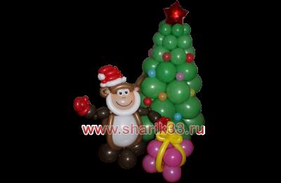Елка и обезьяна с подарком