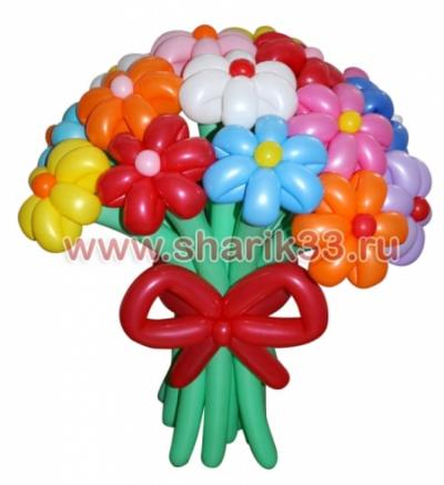 Букет из 15 разноцветных ромашек