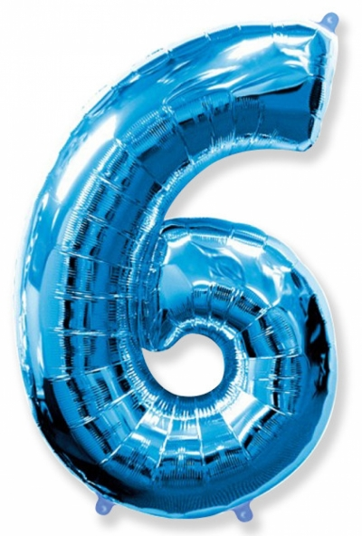 Большая цифра 6 (синяя)