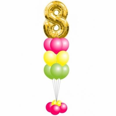 Фонтан из шаров с большой цифрой