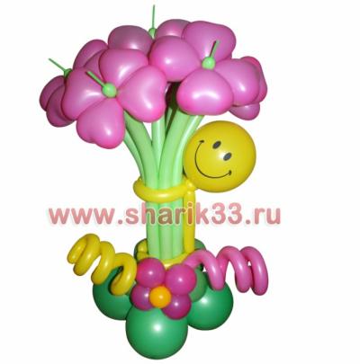 Смайлик с цветами