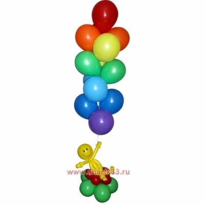Фонтан из 13 гелиевых шаров с человечком