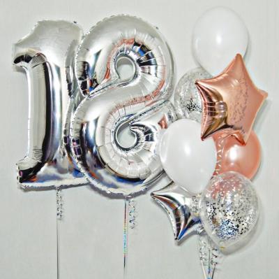 Цифра 18 из шаров + Фонтан со звездами