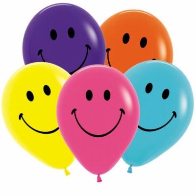 Гелиевые шары разноцветные смайлики