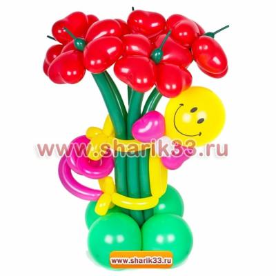 Смайл из шаров с 5 цветочками