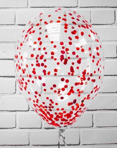 Гелиевые шары с красным конфетти