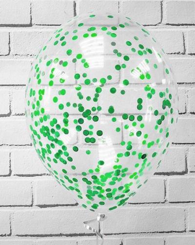 Гелиевые шары с зеленым конфетти