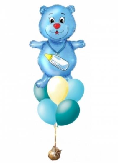 Фонтан из шаров с мишкой