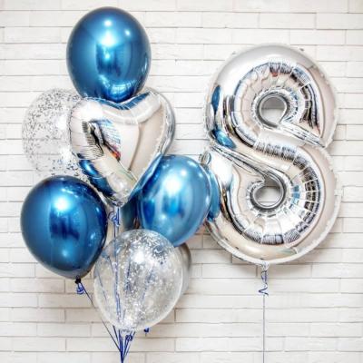 Сине-серебряный набор с цифрой