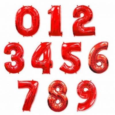 Большие цифры из фольги (Красного цвета)