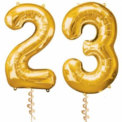 Золотые цифры 23 с гелием