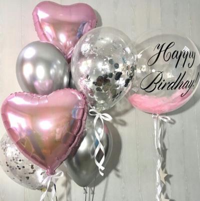 Серебристо-розовый набор