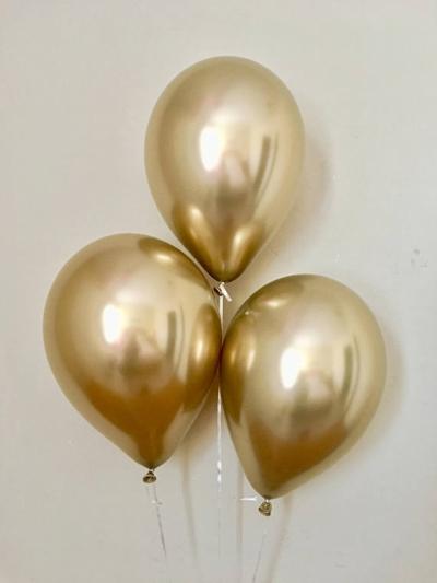 Гелиевые шары ХРОМ золотые