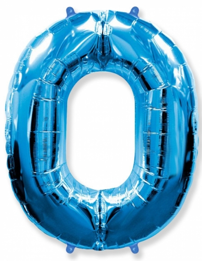 Большая цифра 0 (синяя)