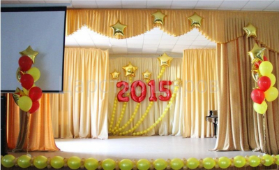 Оформление зала на выпускной в школе №4