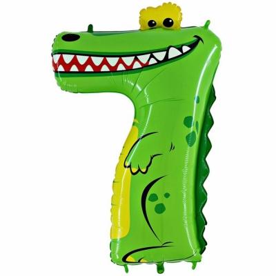Цифра 7 крокодил (гелиевая)