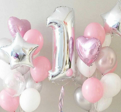 Розовый набор из шаров: Фонтаны + цифра