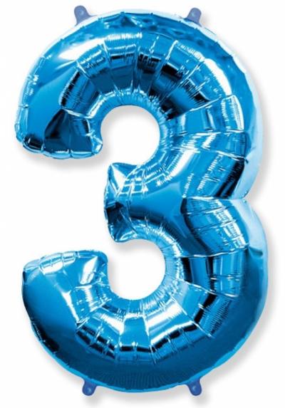 Большая цифра 3 (синяя)