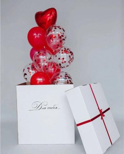 Коробка-сюрприз с шарами в красной гамме