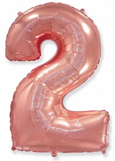 Большая цифра 2 (розовое золото)