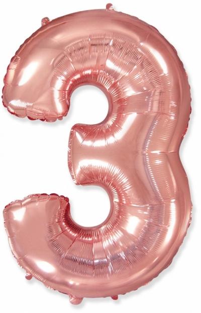 Большая цифра 3 (розовое золото)