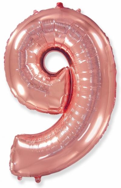 Большая цифра 9 (розовое золото)