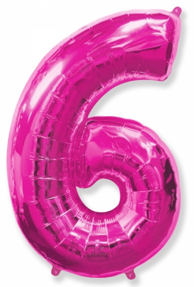 Большая цифра 6 (малиновая)