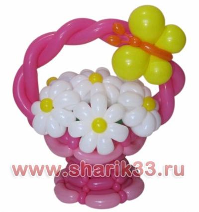 Корзина с цветами (7 ромашек)
