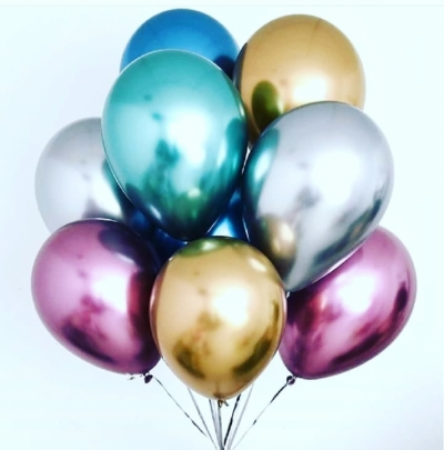Гелиевые шары Хром разноцветные