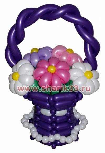Корзина с ромашкам (5 цветков)