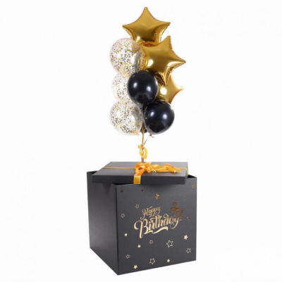 Черно-золотая коробка-сюрприз