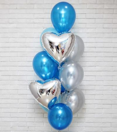 Сине-голубой набор с серебряными сердцами