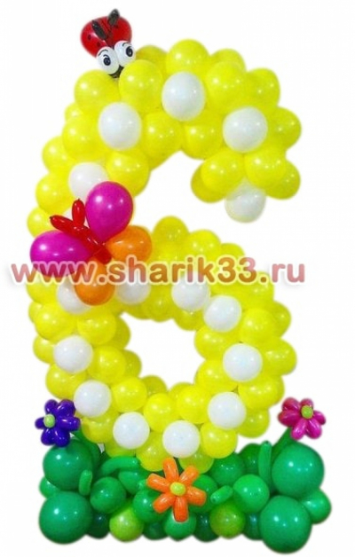 Цифра 6 из шаров на полянке
