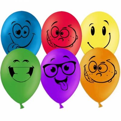 Гелиевые шары веселые смайлы (улыбки)