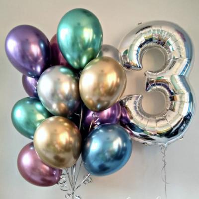 Фонтан из 11 хромированных шаров + Цифра