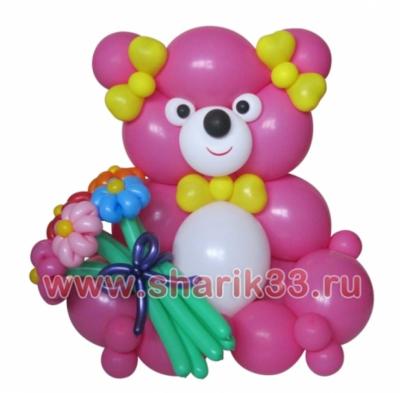 Большой мишка с цветами