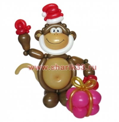 Новогодняя обезьяна  с подарком
